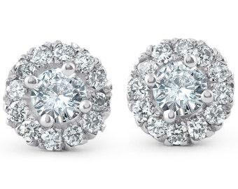 Halo Diamond Studs .90ct 14k White Gold Womens Diamond Studs Halo Earrings