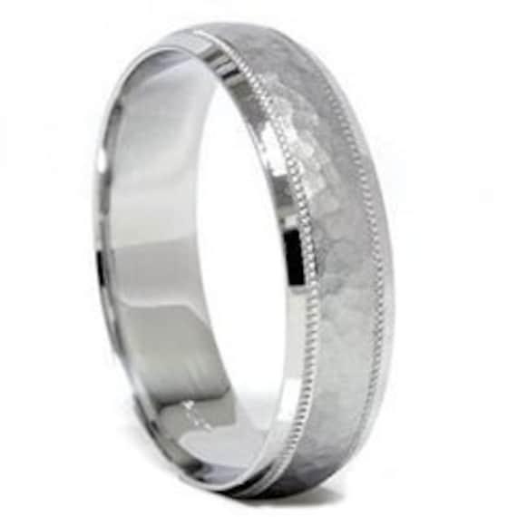 Hammered White Gold Ring Mens Wedding Band Hammered Wedding Etsy