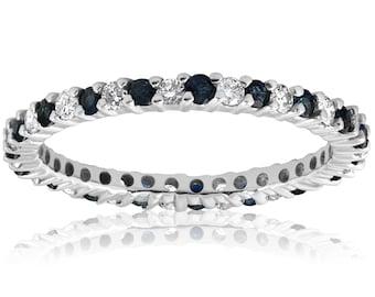 Blue Sapphire Diamond Eternity Ring Anniversary Thin Band 1/2ct Blue Sapphire Diamond Wedding Band Stackable Eternity Ring 14k White Gold
