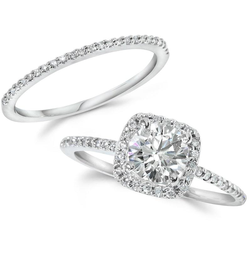 Diamond Engagement Ring Cushion Halo Set Solid 14 KT White image 0