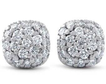 Pave Halo Diamond Studs Cushion Studs .60ct 14k White Gold Womens Diamond Studs Cushion Halo Earrings