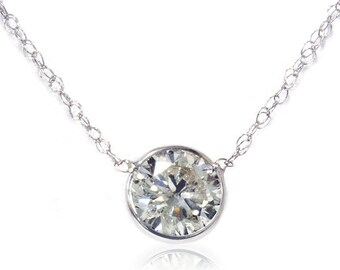 Solitaire .84CT SI H Bezel Diamond Pendant 14K White Gold