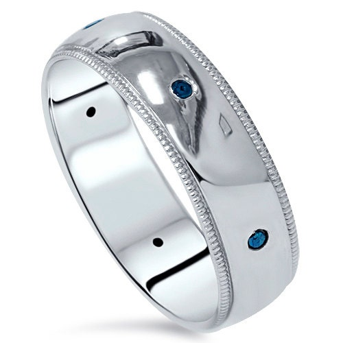 Wedding Band 10k White Gold 6mm: Mens Blue Diamond Brushed Wedding Band 6MM Ring 10K White