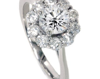 1.20CT Halo FIRE Diamond Engagement Ring 14K White Gold