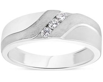 Mens 1/5ct White Gold Diamond 6.5mm Brushed Wedding Curve Anniversary Band (H/I, I1-I2)