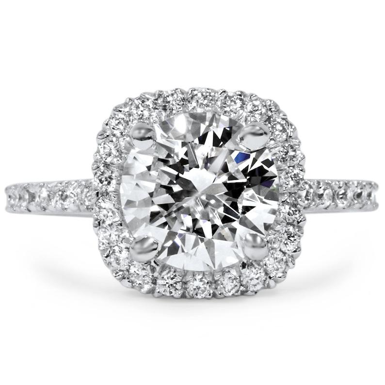 Cushion Halo Enhanced Diamond Engagement Solitaire Ring 2  85fcc54a3b