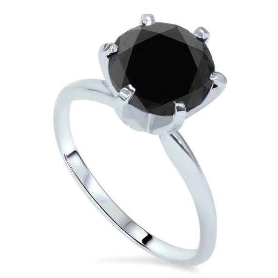 Anello Di Fidanzamento Diamante Nero Solitario Diamante Nero