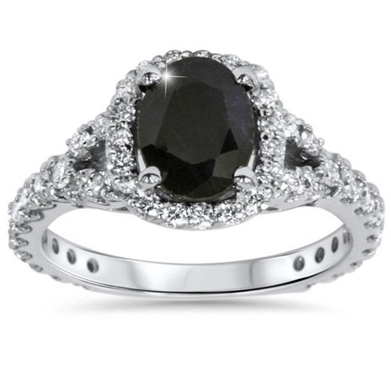 442114213028 225 CT Negro zafiro y anillo de compromiso diamante cojín
