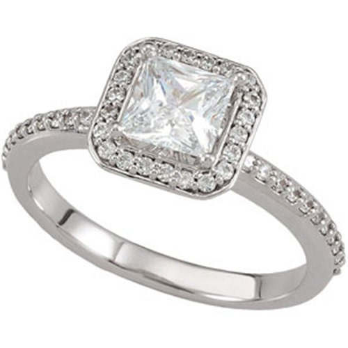Engagement Rings Netherlands: 1.00 CT Diamond Halo Engagement Ring Princess Cut Center