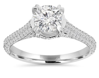 Engagement Ring, 1.70CT Micro Pave Lab Created Diamond Engagement Ring 14K White Gold