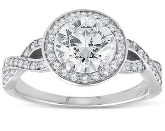 Halo Diamond Engagement Ring 1.16ct TDW Infinity Twist 14k White Gold