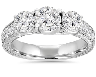 1.75CT 3 Stone Diamond Vintage Engagement Anniversary Art Deco Hand Engraved Ring 14K White Gold