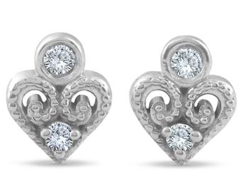 Diamond Heart Shape Studs 14k White Gold Vintage Diamond Studs .09ct