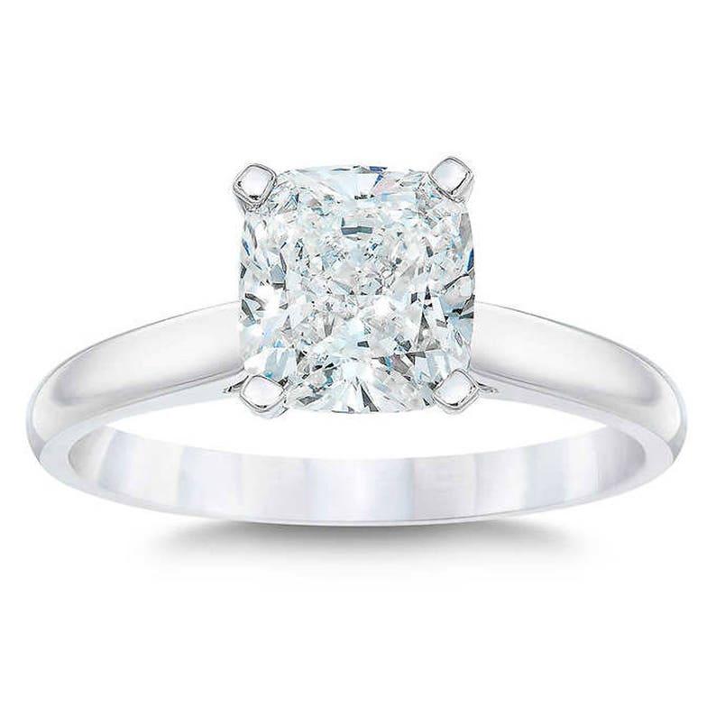 Fabulous 2.00 Carat H Si2 Princess Diamond Stud Earrings 14 K White Gold Sufficient Supply Diamond