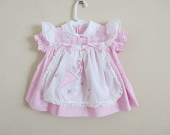 156bf736 Vintage Baby Dress Pink Polka Dots White Ruffle Sleeves Front Apron  Umbrella Applique Size 12 Months 949A