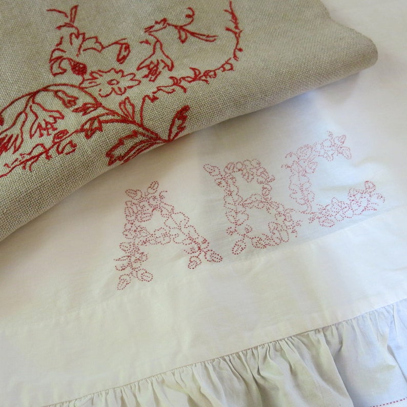 Victorian Red Work Bed Pillow Cover ABC Bleached Mulsin Edge Ruffle 25 by 76 Inches 447A