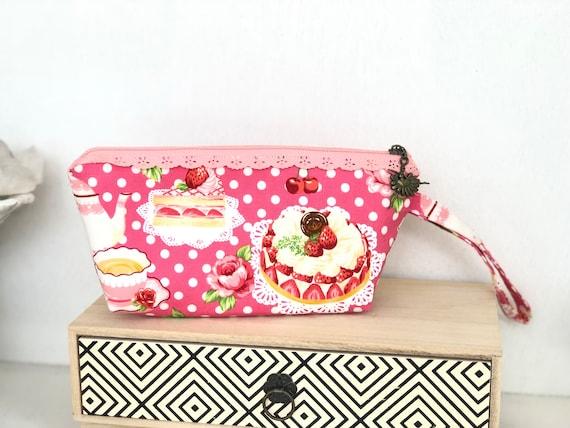 Pink Dessert Cake Polka Dot Fabric Wristlet Makeup Bag Made Etsy