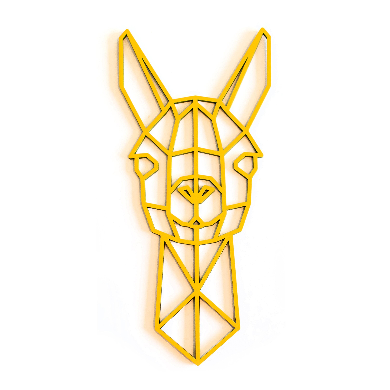 Geometric Llama Head Wall Art Animal Wooden wall Hanging | Etsy