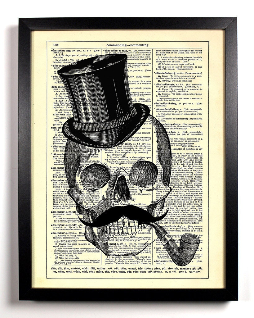 Skeleton Mustache Top Hat, Home, Kitchen, Nursery, Office Decor, Wedding  Gift, Eco Friendly Book Art, Vintage Dictionary Print, 8 x 10 in
