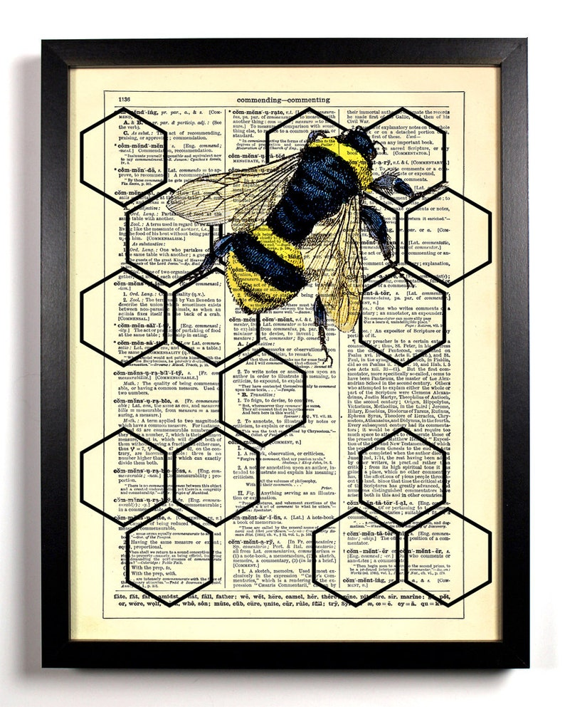 Geometric Honeycomb With Honey Bee Home Kitchen Nursery