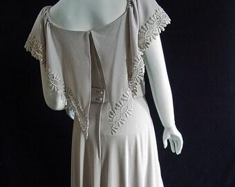60s Designer Lilli Diamond Lined Formal Vintage Dress Venice Lace
