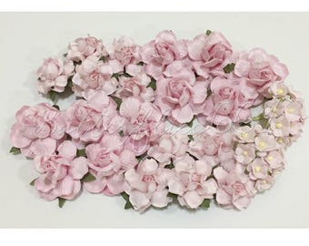 Paper flowers etsy studio 40 mixed size soft pink handmade mulberry paper flowers diy wedding bouquets roses mightylinksfo