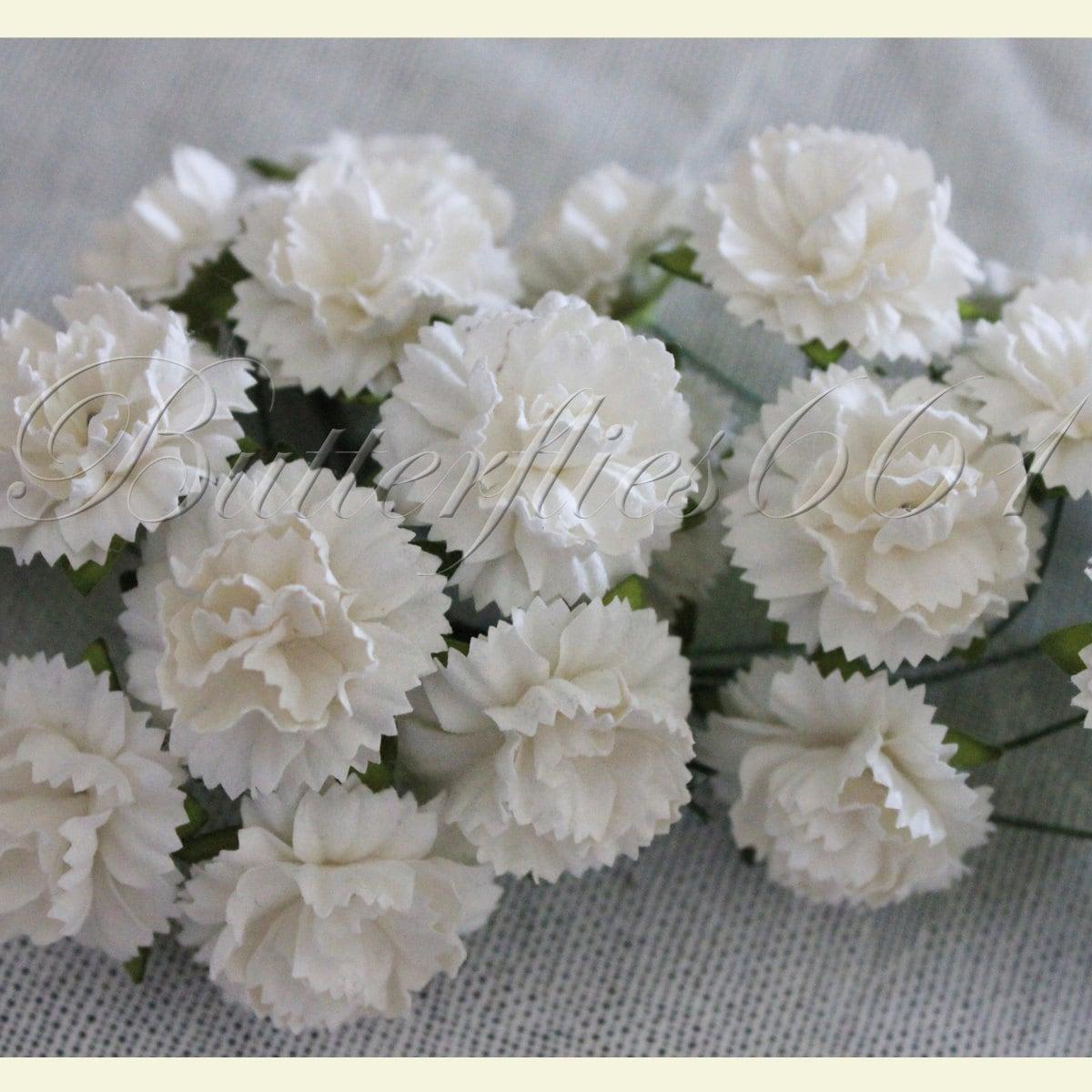 100 Handmade Mulberry Paper Flowers Of White Carnations Etsy