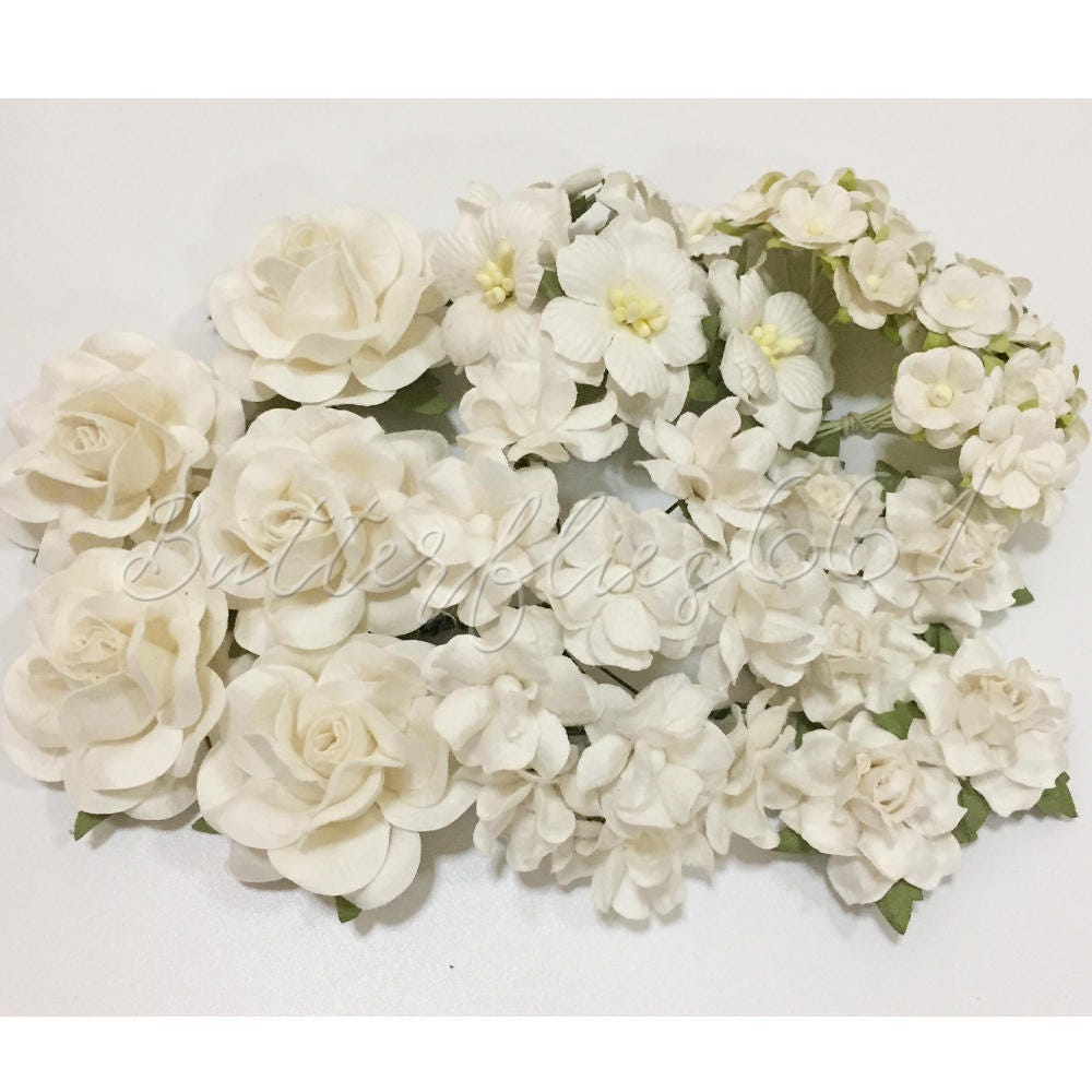 45 Handmade Mulberry Paper Flowers Mixed Sizes Of White Etsy