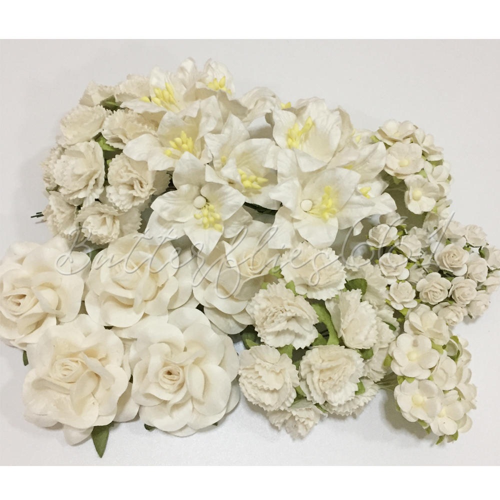 75 Mixed Of 5 Sizes In White Handmade Mulberry Paper Flowers Etsy