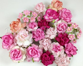 40 Mixed Size of Pink Handmade Mulberry Paper Flowers Wedding Roses