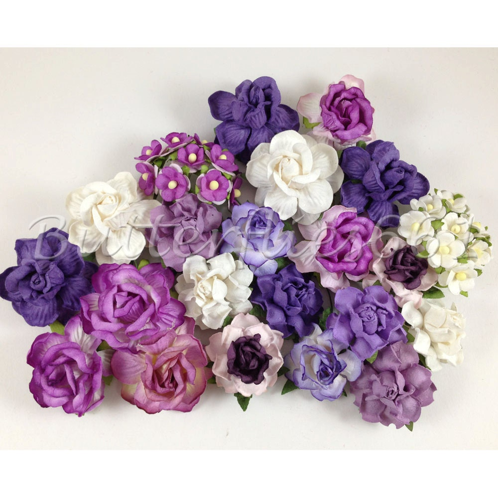 40 Mixed Size Of Purple Handmade Mulberry Paper Flowers Diy Etsy