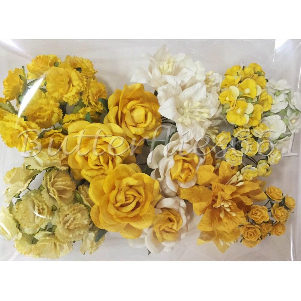 75 tailles mixtes mixtes tailles de fleurs en papier mûrier fait à la main jaune 2c0ad2