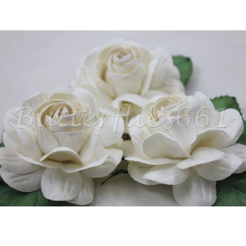 3 Big White Roses Handmade Mulberry Paper Flowers Wedding Etsy