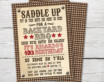 Western Invitation BBQ Party Supplies Invite Cowboy Invitations Adult Summer