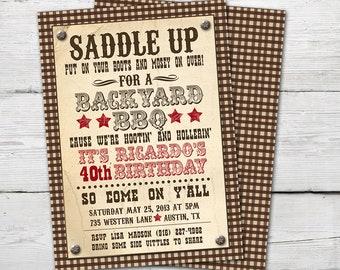 Western Invitation BBQ Party Supplies Invite Cowboy Invitations Adult Summer