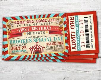 Circus Ticket Invitation Vintage Party Birthday Invite