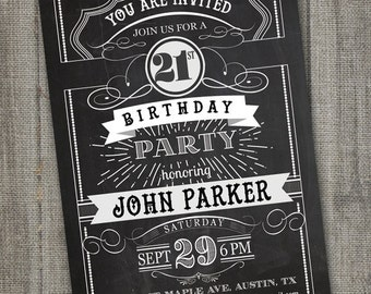 Chalkboard Birthday Invitation for Adult, 21st Birthday Invitation for Guys, 21st Birthday Invitation Male, 18th Birthday Invitation Boy
