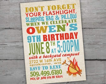 Camping invitations etsy camping invitation camping invitations campout party campout birthday campout birthday invitation camping birthday printable filmwisefo