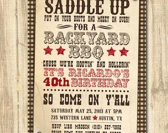 Western Themed Birthday Invitation Theme Party DIGITAL BBQ Invite