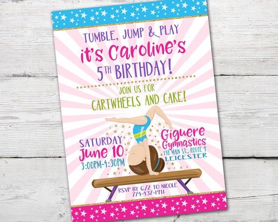 Gymnastics Birthday Invitation Invite PRINTABLE Party