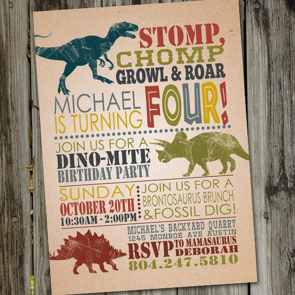 Dinosaur Birthday Invitations Invitation