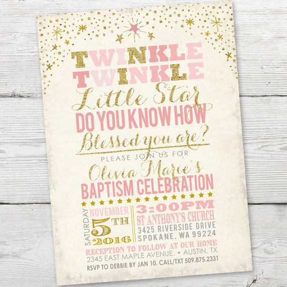 twinkle twinkle little star baptism invitation printable etsy