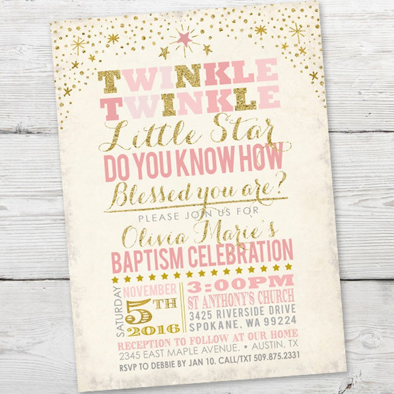 Twinkle Little Star Baptism Invitation PRINTABLE Invite Christening