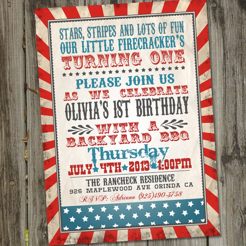 Little Firecracker Fourth Of July Birthday Invitation 4th 4