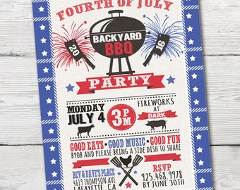 Fourth of July BBQ Party Invitation, Fourth of July Party,  PRINTABLE 4th of July Invitation, Independence Day Invitation