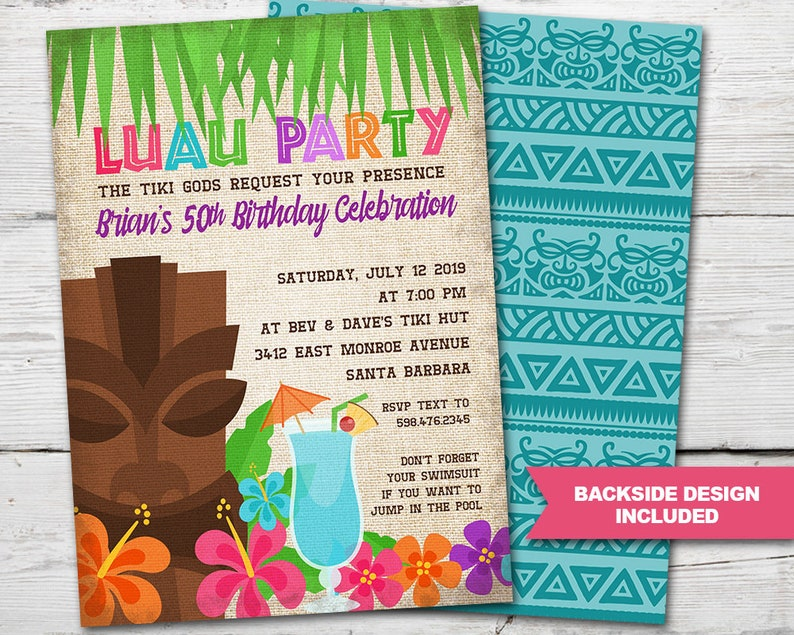 Luau Party Invitations Luau Invitation Luau Birthday Etsy