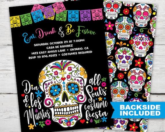 Sugar Skull Party Invitation Dia De Los Muertos Invitations Dia De