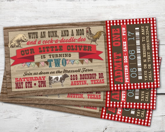 Farm Birthday Invitation Barnyard Petting Zoo Party PRINTABLE
