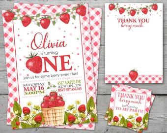 Strawberry First Birthday Invitation, Strawberry 1st Birthday Invitation, Strawberry Birthday Invitation, Strawberry Birthday Invite DIGITAL