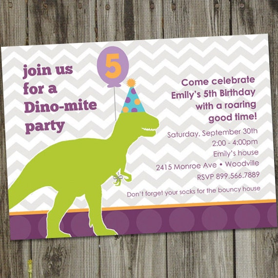 Dino Mite Birthday Party Invitation PRINTABLE Dinosaur